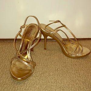 """Aldo Gold """"Bittee"""" sparkle strappy sandals"""